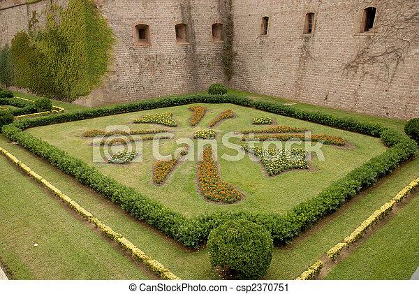 Flower bed at Castell de Montjuic in Barcelona, Spain - csp2370751