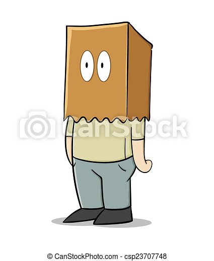 EPS Vector of Paper bag man - Vector illustration of a man hiding ...