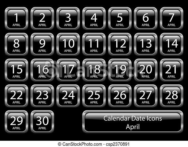 Calendar Icon Set - April - csp2370891