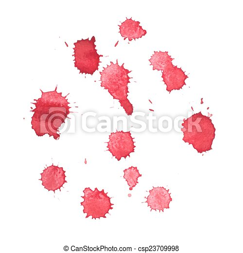 Abstract watercolor aquarelle hand drawn red blood drop splatter stain art paint on white background Vector illustration - csp23709998
