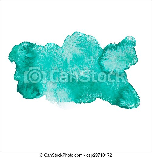 Green blue colorful abstract hand draw watercolour aquarelle art paint splatter stain on white background Vector illustration - csp23710172