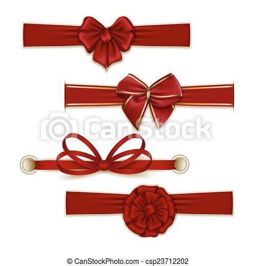 Set of elegant silk colored bows - csp23712202