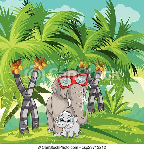 Vector Clip Art of Child illustration of the jungle with a ...