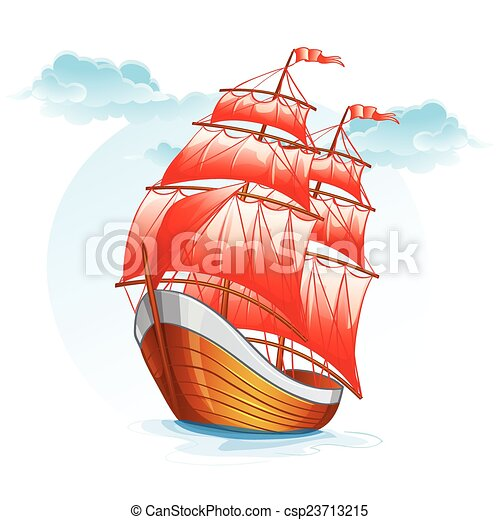 of a sailboat with red sails. - stock illustration, royalty free ...