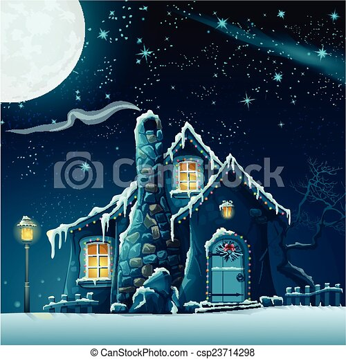 Illustration of a winter night with a fabulous house and lantern - csp23714298