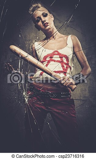 Stock Photography of Punk girl breaking glass with a baseball bat ...
