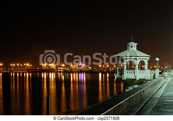 Promenade in Corpus Christi at night, southern Texas USA - csp2371928