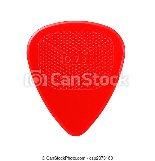 red ribbed guitar plectrum isolated on white - csp2373180