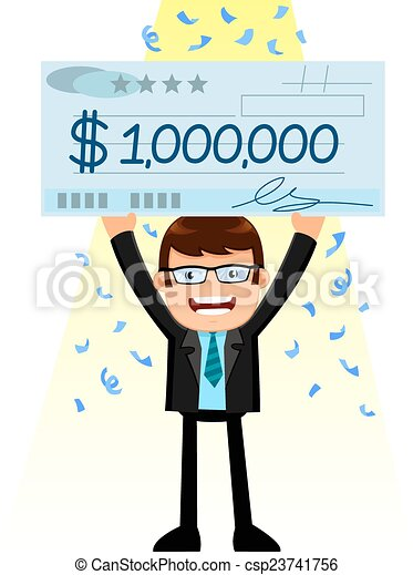 man with a big check vector clipart instant download