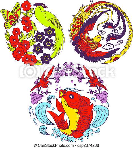 classic Chinese tree bird emblem  - csp2374288
