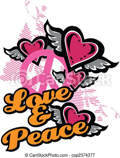 love and peace fancy graphic - csp2374377