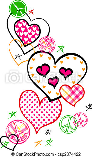 Fancy Heart And Peace Logo - csp2374422