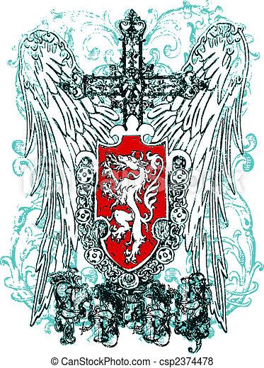 cross heraldic crest eagle - csp2374478