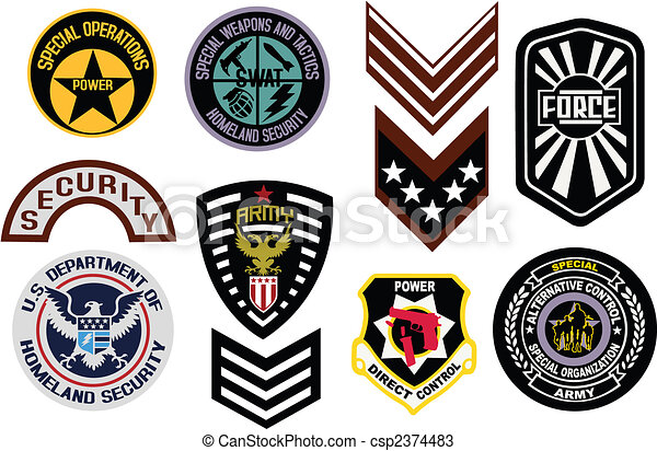 Emblem shield military badge logo - csp2374483