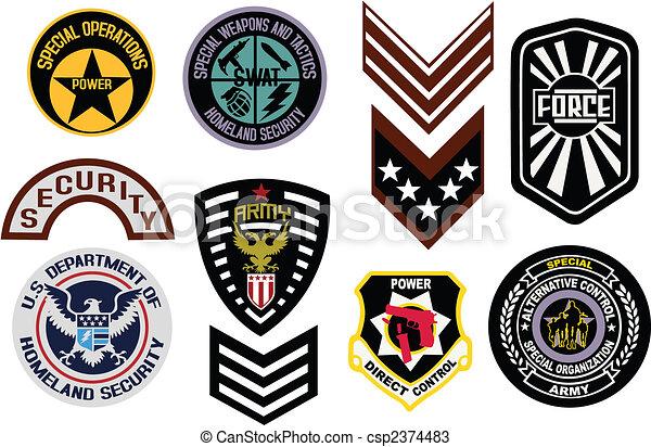 Emblem shield military badge logo - csp2374483