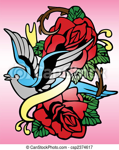 bird rose tribal tattoo - csp2374617