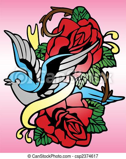 bird rose tribal tattoo - csp2374617