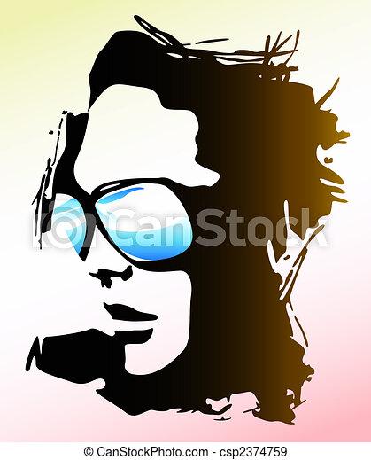 woman wearing sunglasses illustration - csp2374759