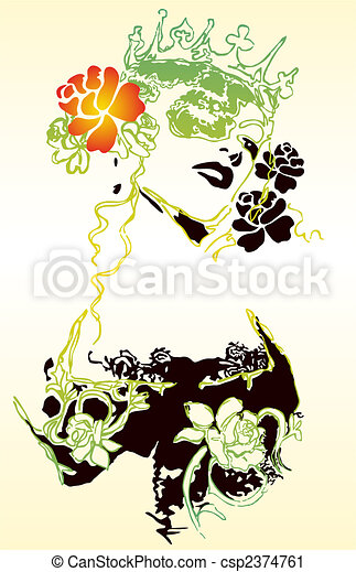 Fancy woman and flower illustration - csp2374761