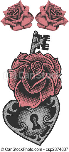 rose with locked heat-shape key - csp2374837