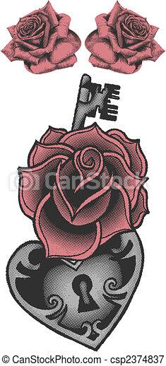 rose with locked heat-shape key - csp2374837