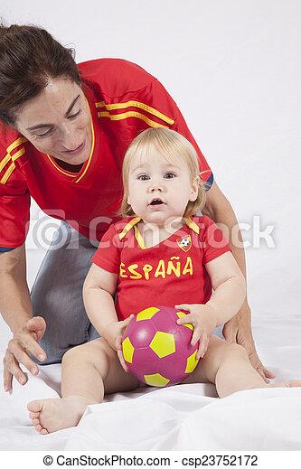 surprised baby spanish soccer fan