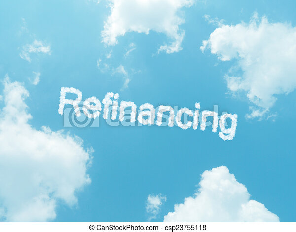 cloud words with design on blue sky background - csp23755118