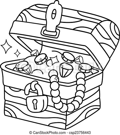 Eps vector of coloring page treasure chest illustration for Treasure chest coloring pages printable