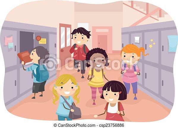 how to draw a school hallway