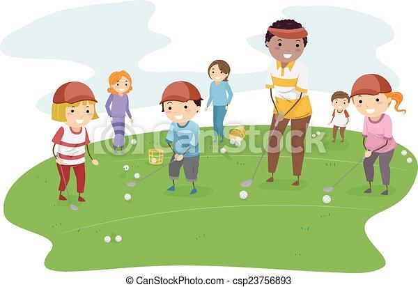EPS Vectors of Stickman Kids Golf Lesson - Illustration of ... Kid Golfer Clipart