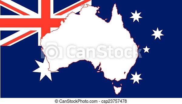 Australia Flag and Map - csp23757478