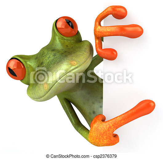 Fun frog with a blank sign - csp2376379