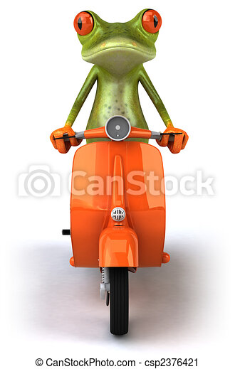 Fun frog on a scooter - csp2376421