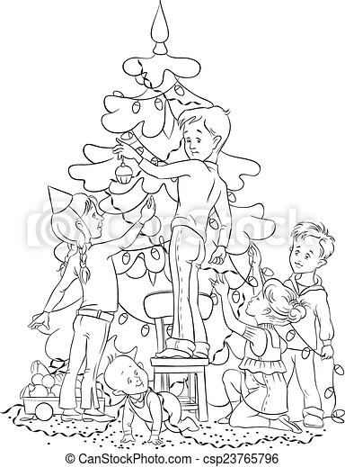 Black People Decorating For Christmas eps vectors of children decorating christmas tree - colouring page