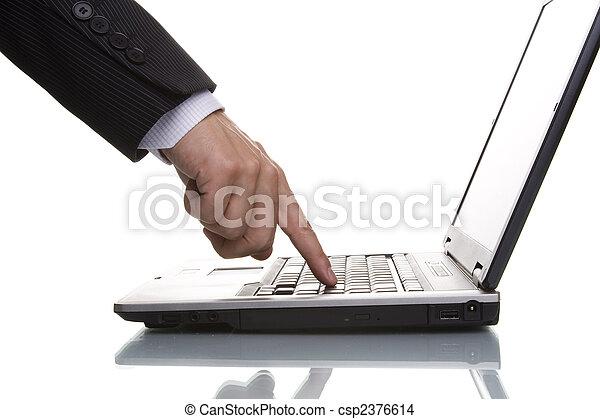 businessman acessing data - csp2376614