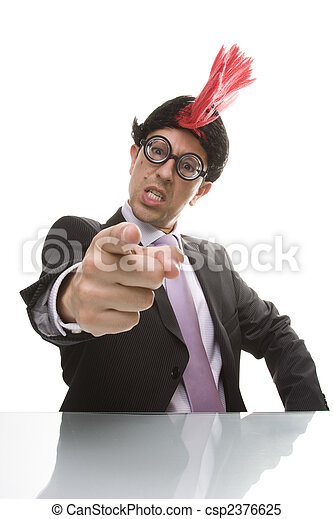 Punk businessman pointing - csp2376625
