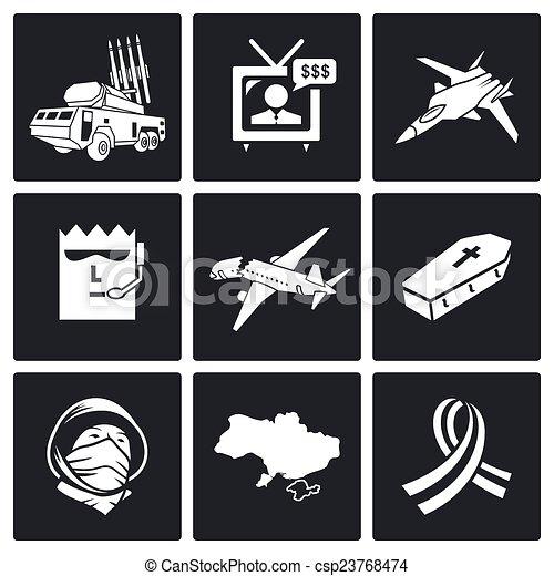 Vectors Illustration of Plane crash Vector Icons Set - Plane crash ...
