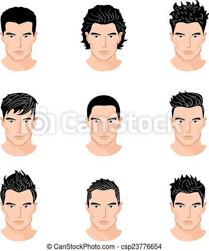 Clipart Vector Of Set Different Hair Style Young Men