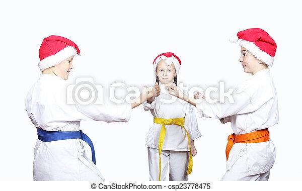 Children in a cap of Santa Claus
