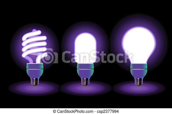 Energy saving fluorescent light bulbs - editable vector - csp2377994