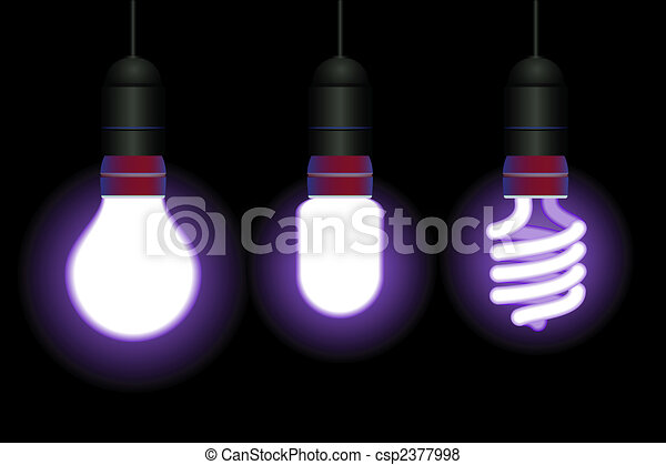 Energy saving fluorescent light bulbs - editable vector - csp2377998