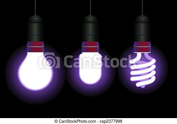 Energy saving fluorescent light bulbs - editable vector - csp2377998
