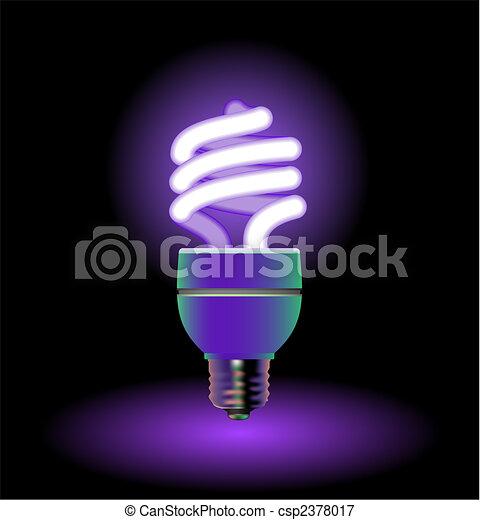 Energy saving fluorescent light bulbs - editable vector - csp2378017