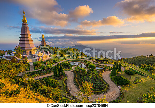 two pagodas in an Inthanon mountain