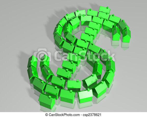 Housing market dollar symbol - csp2378621
