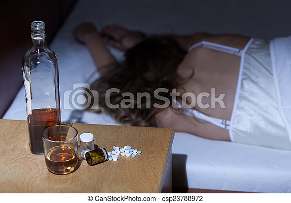 Woman addicted to alcohol and drugs