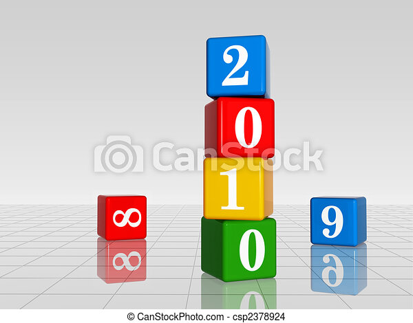 colour cubes with 2010 with 8 and 9, reflection - csp2378924