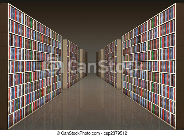 Bookshelf corridor - csp2379512