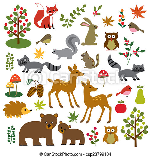 Stock Illustration of woodland wildlife clipart csp23799104 ...
