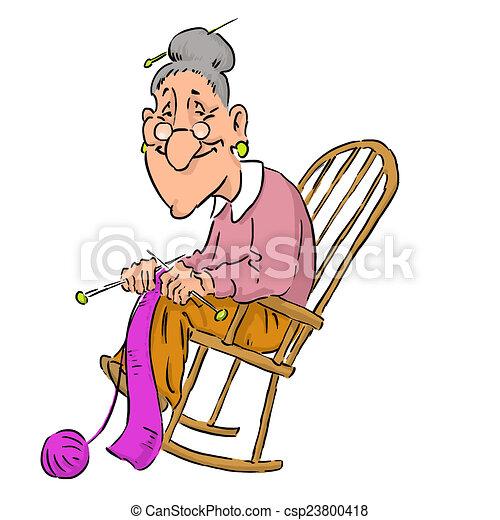 Old Lady In Rocking Chair Stricken Der Alten Frau Vektor